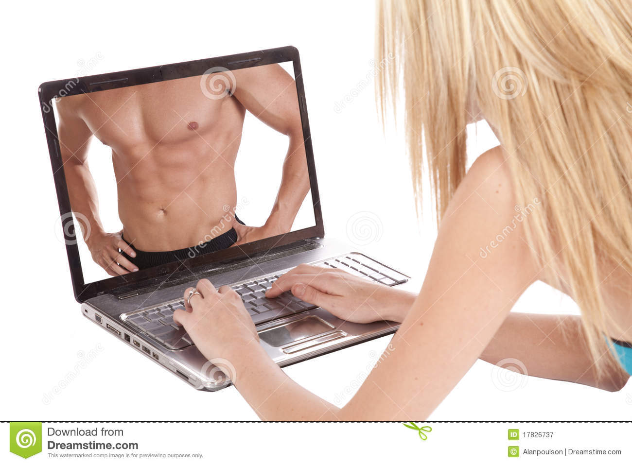Woman looking at a man in laptop