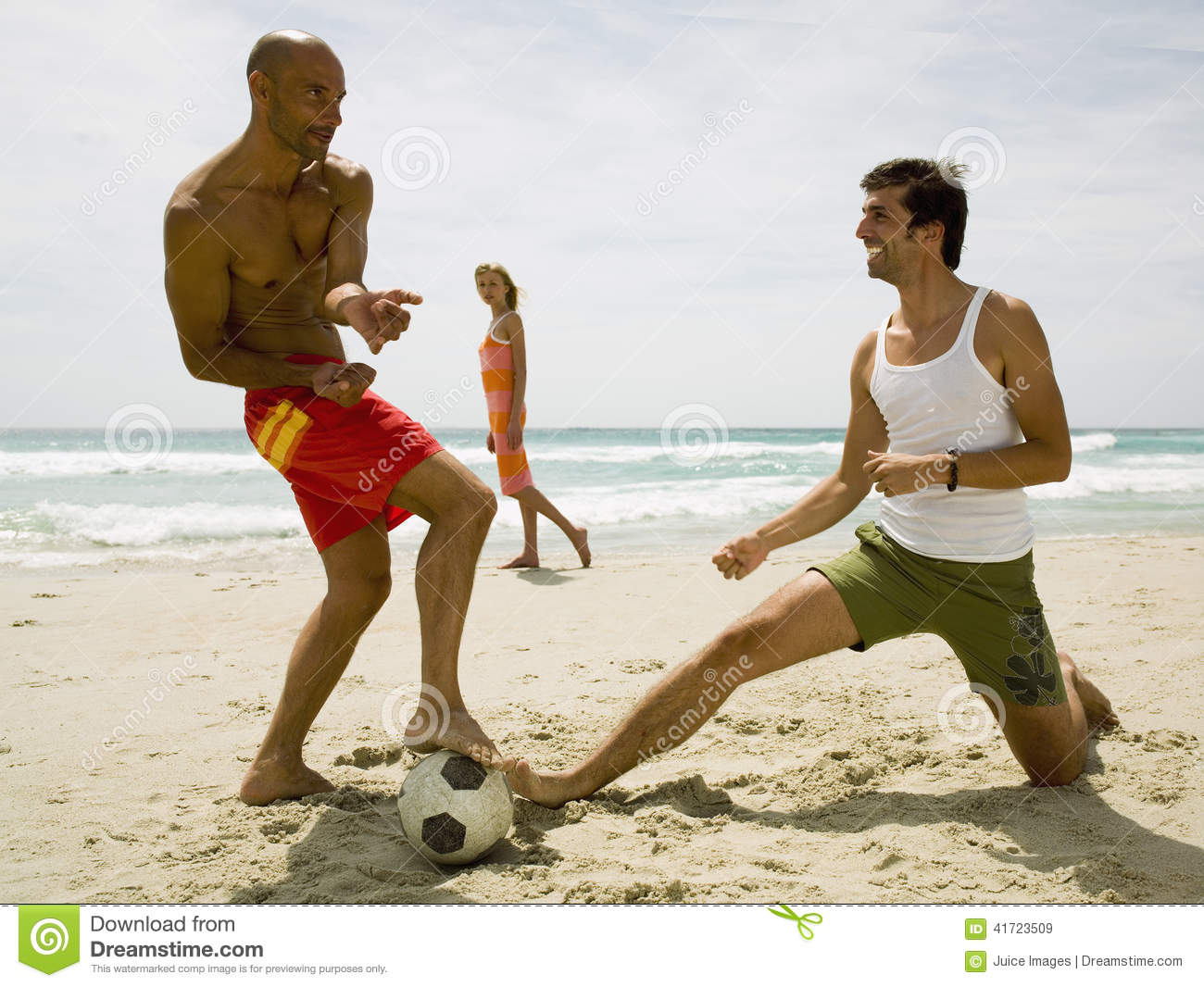 Woman Looking At Men Playing Football On The Beach Stock Image Image Of Dress Outdoor 41723509