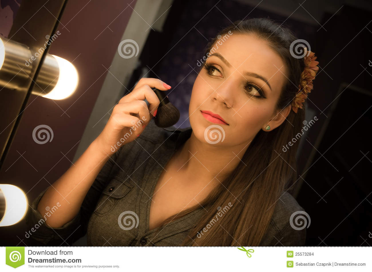 Woman looking in mirror stock photo. Image of pretty ...