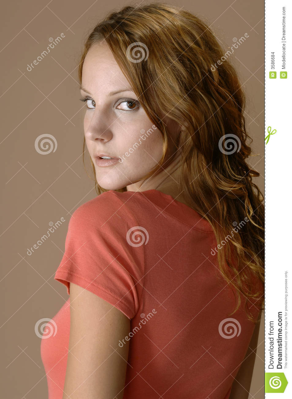 Woman Looking Over Her Shoulder Stock Images - Image: 3586684