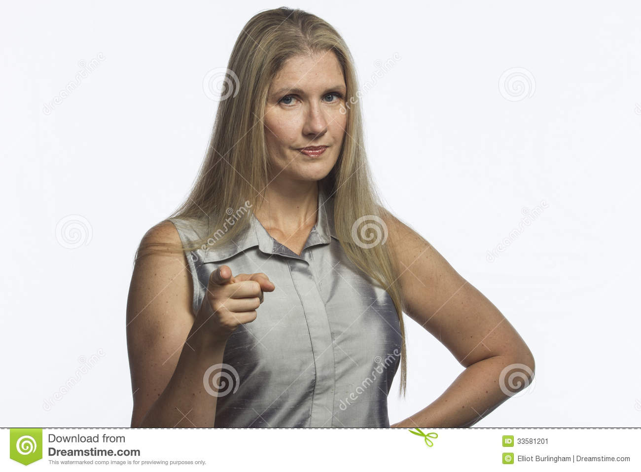 Woman Looks With Disapproval And Scolding, Horizontal Stock Image ...
