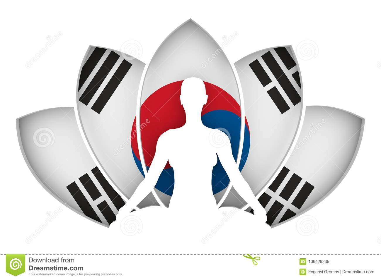 Woman And Lotus Flower Silhouettes Stock Illustration
