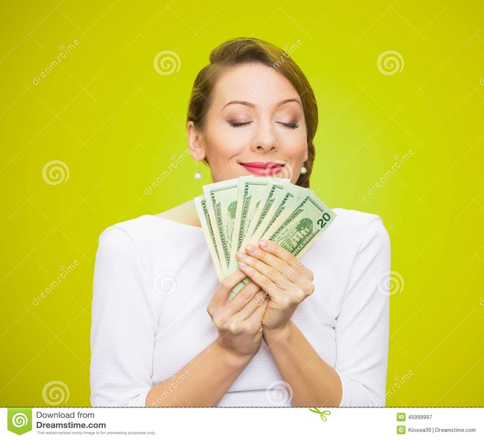Woman loves money