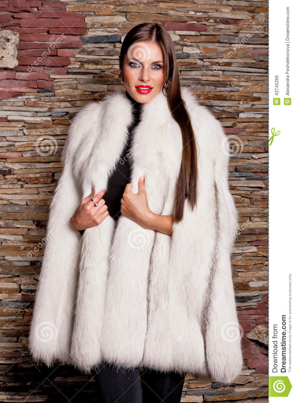woman in luxury white fur coat stock photo image 43745266. Black Bedroom Furniture Sets. Home Design Ideas