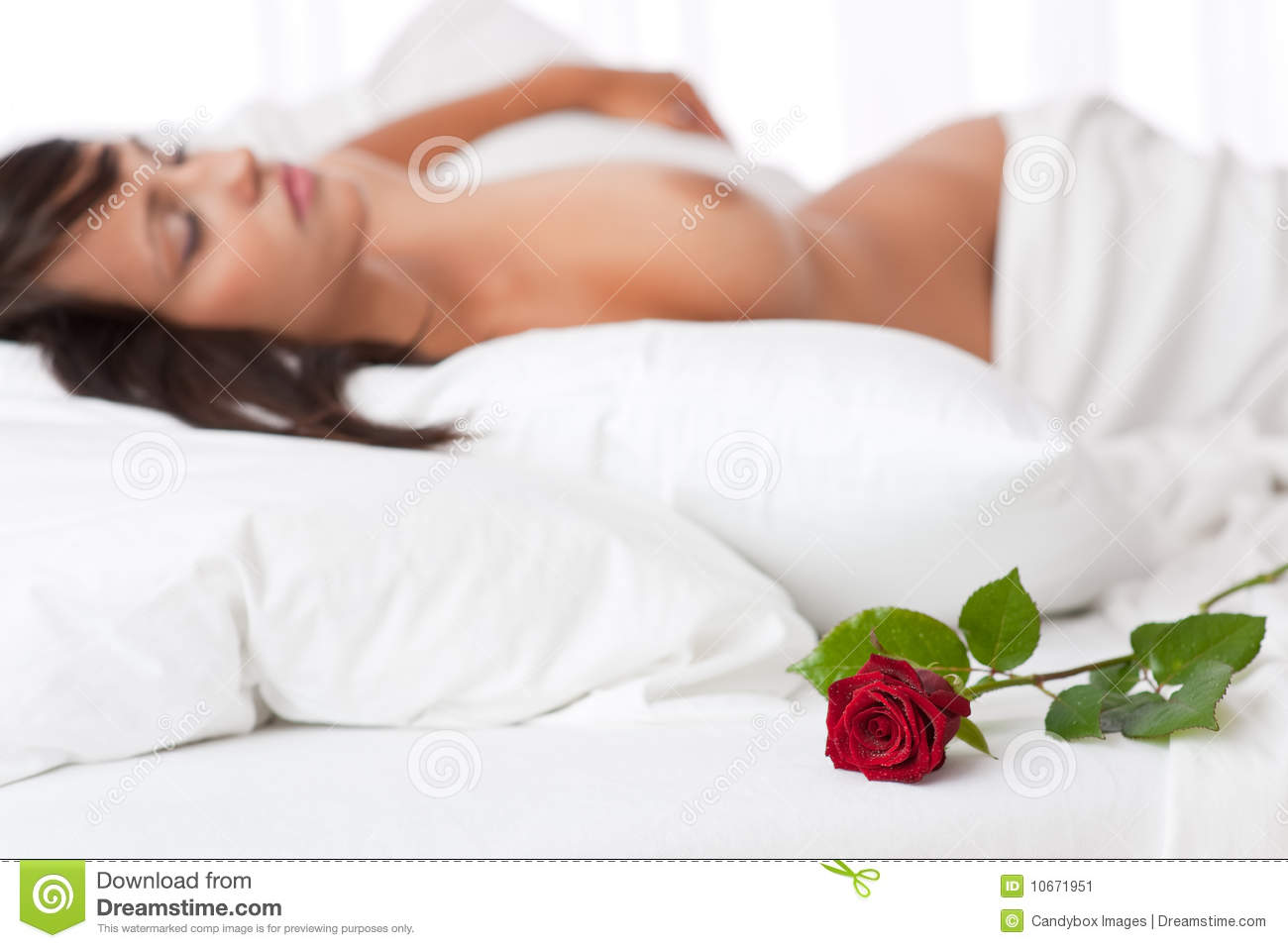 Woman Lying In White Bed Focus On Rose Stock Image