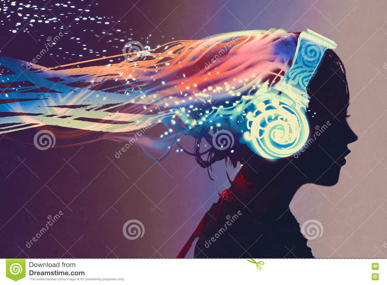Woman with magic glowing headphones on dark background