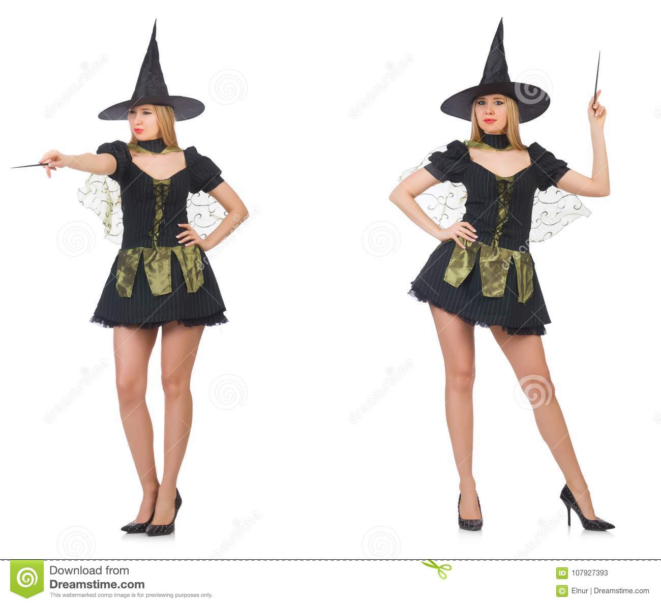 The Woman Magician Doing Her Tricks With Wand Stock Image - Image of