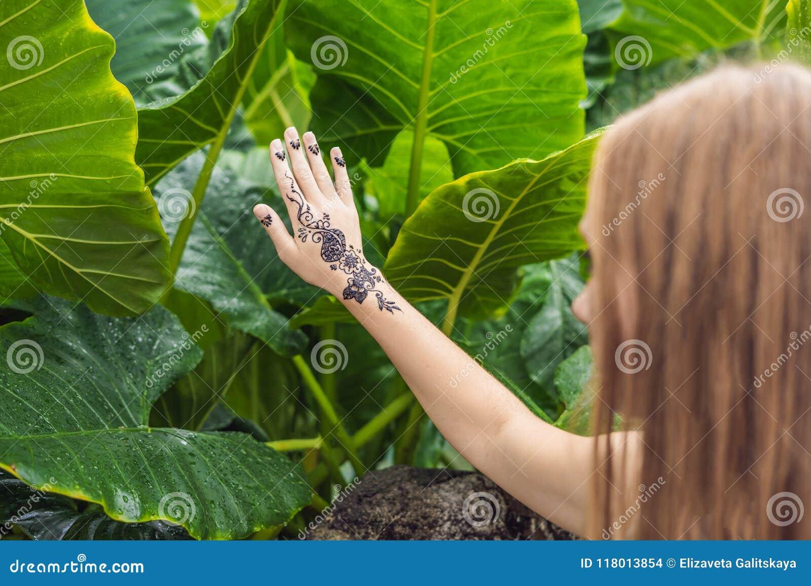 Woman With Mahendi Hand Decorated With Henna Tattoo Mehendi Ha