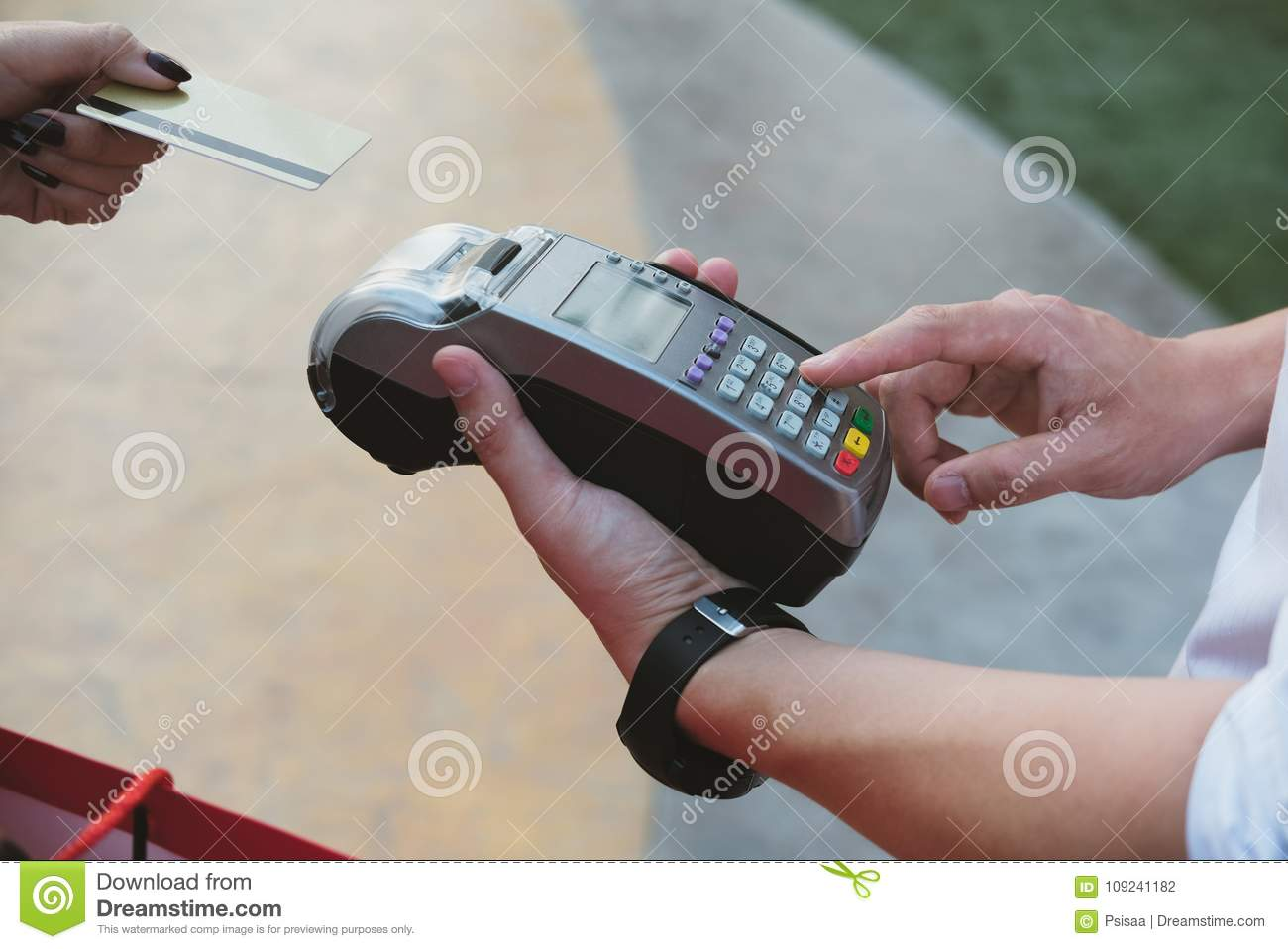 Woman Make Payment With Credit Card Swipe Through Terminal ...