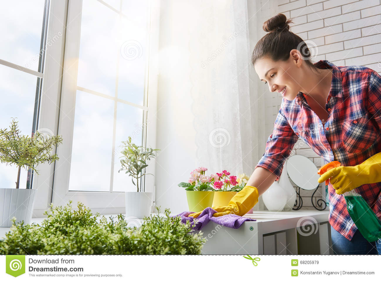 Woman makes cleaning stock image image of beautiful - One time interior house cleaning ...