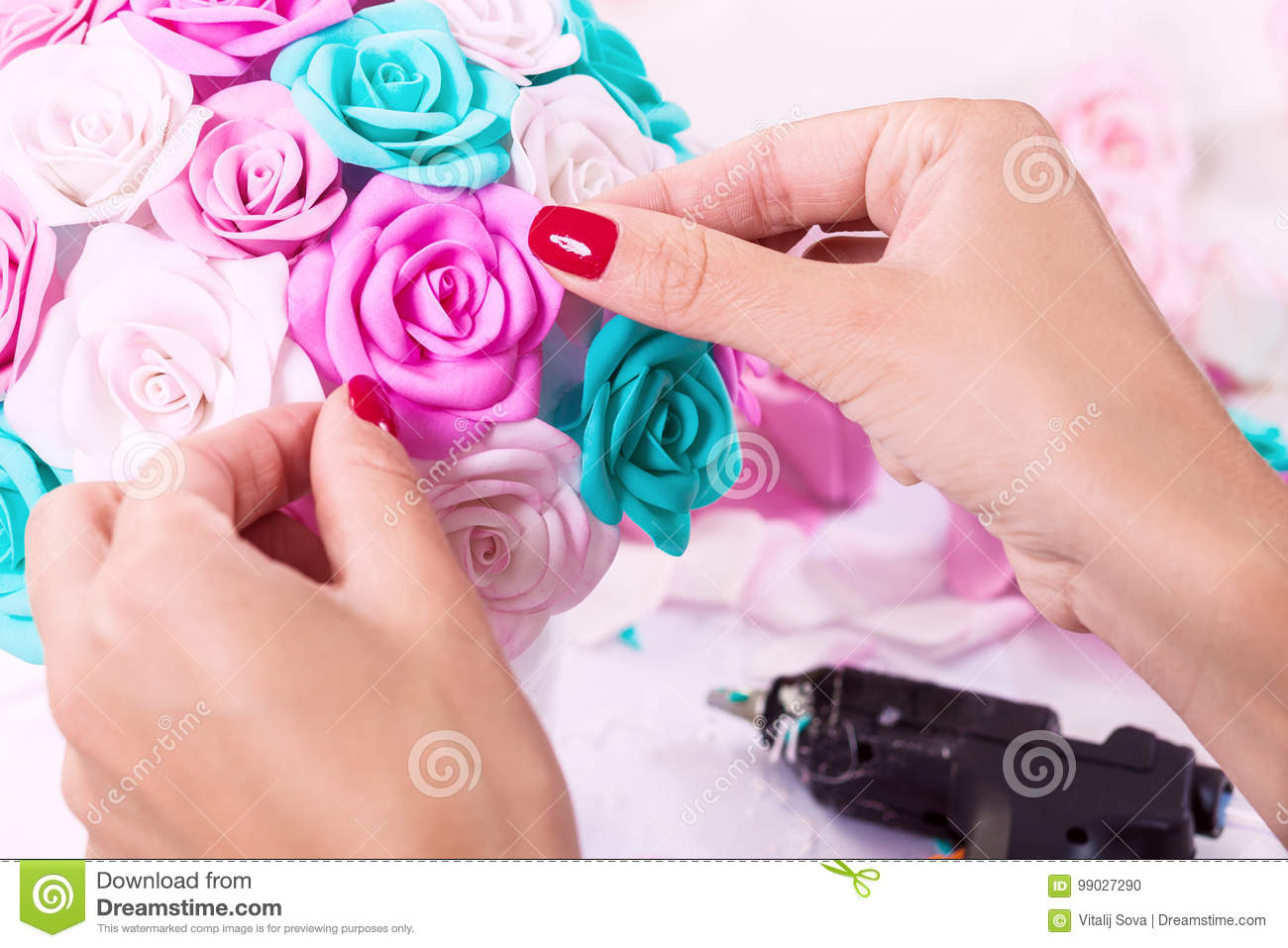 Woman Making Artificial Rose Stock Photo Image Of Hobby Beauty