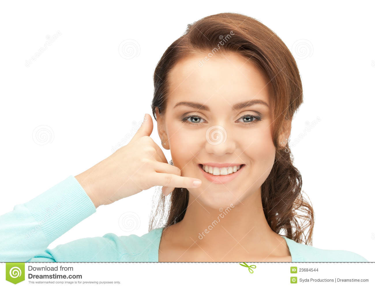 Woman Making A Call Me Gesture Stock Images - Image: 23684544