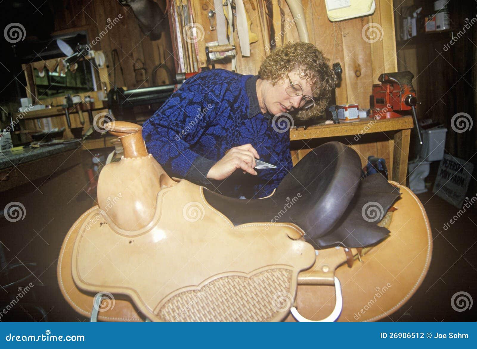Woman Making Custom Made Western Saddle Editorial Photography