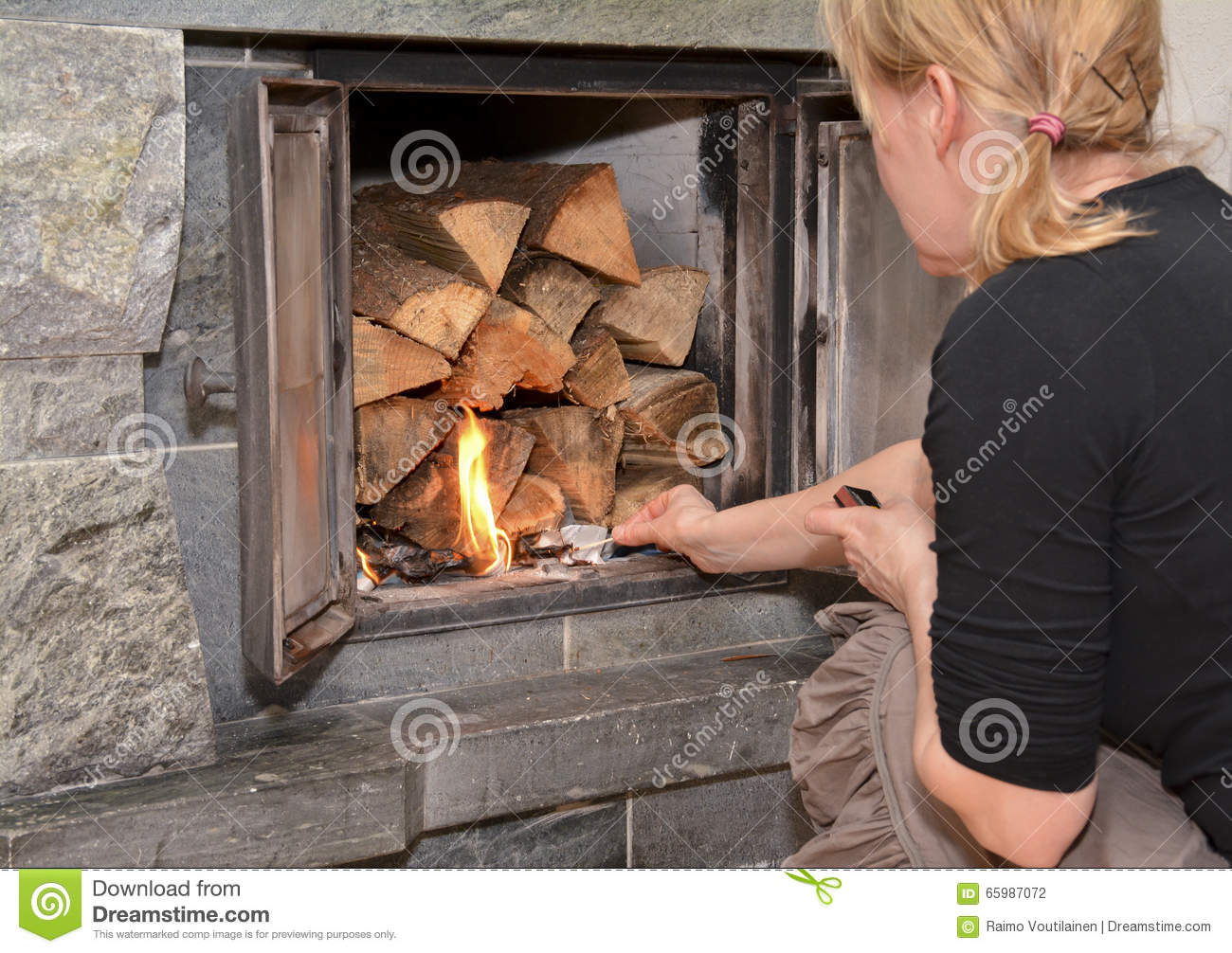 Woman Making Fire On Fireplace Stock Photo Image Of Firewood