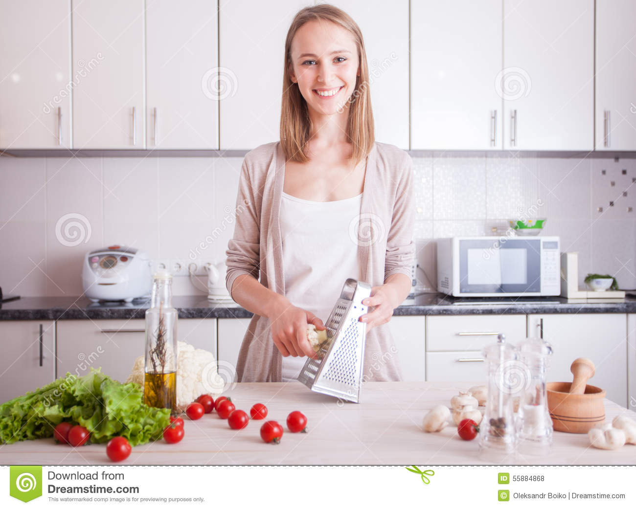 woman making healthy food in kitchen stock photo image of cheerful