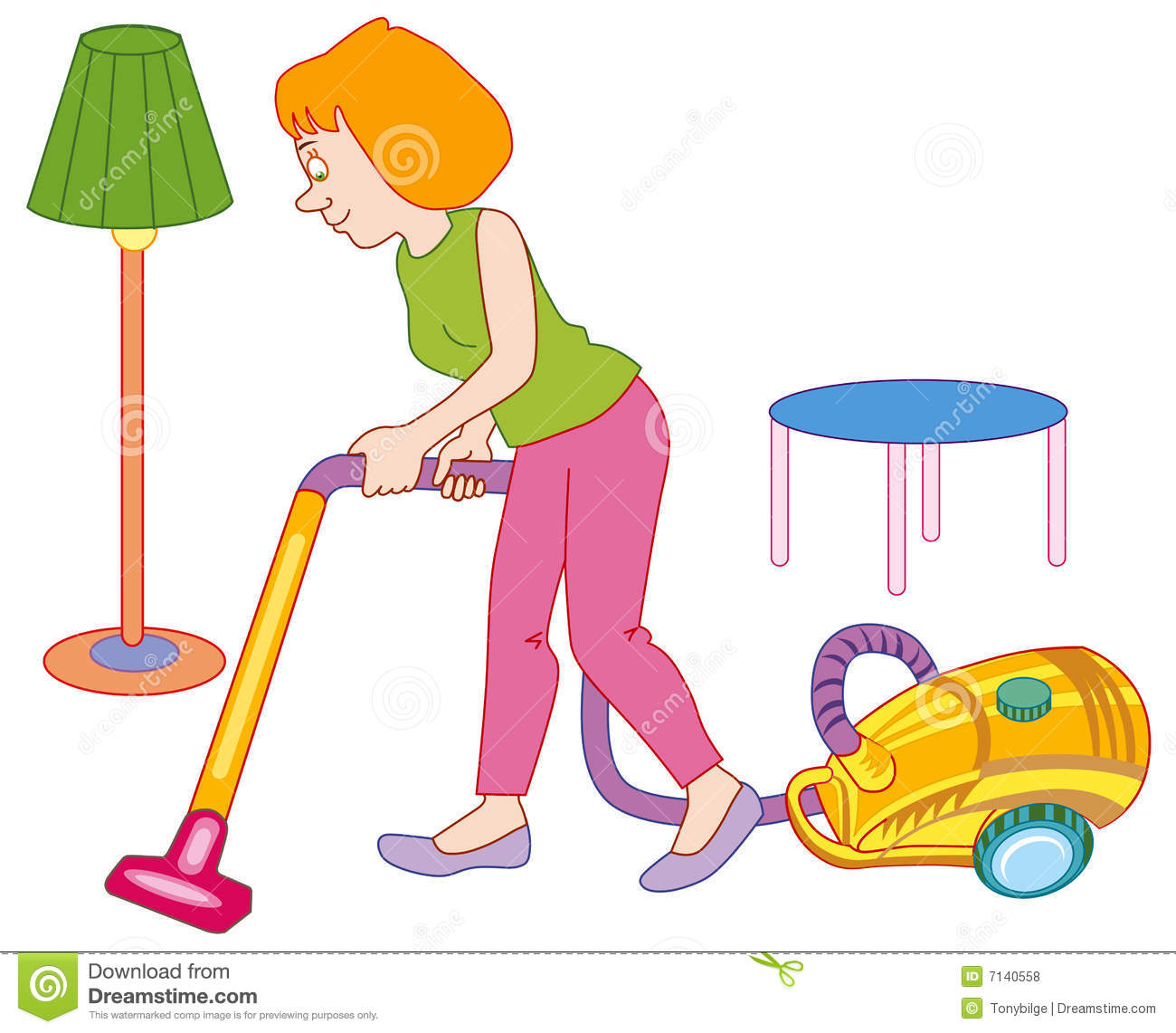 Woman making house cleaning stock vector illustration - Productos limpieza cocina ...