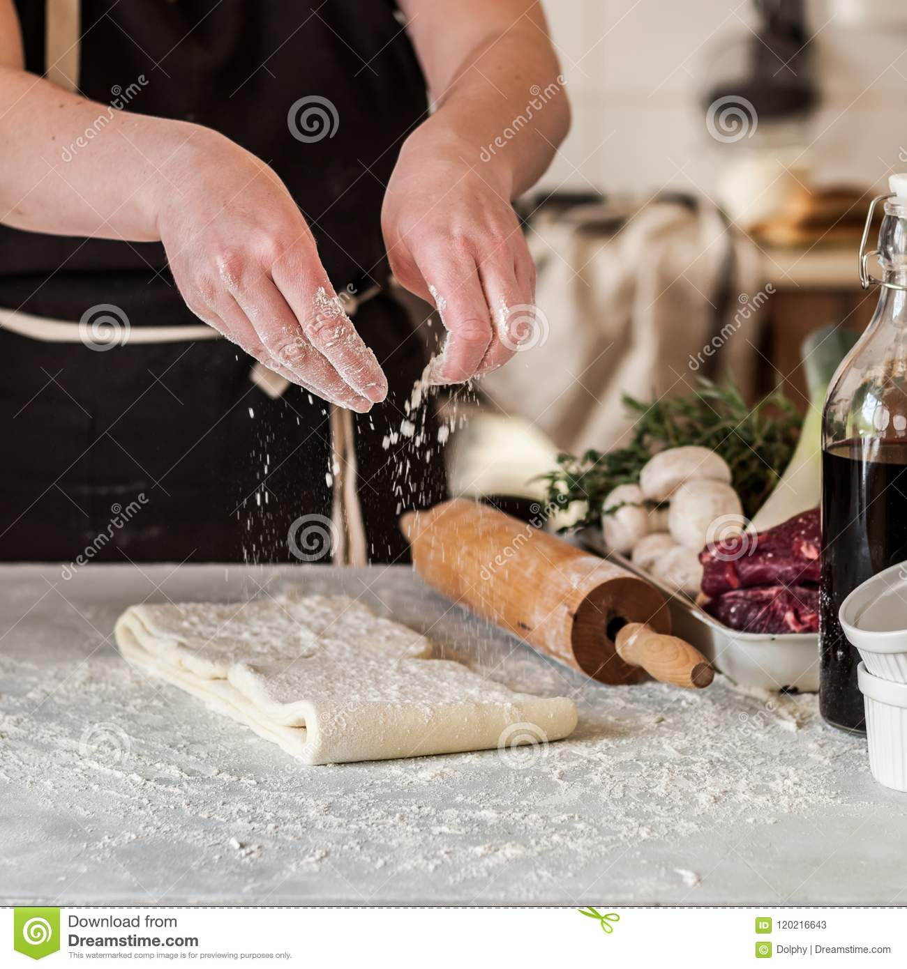 A Woman Making Puff Pastry Dough