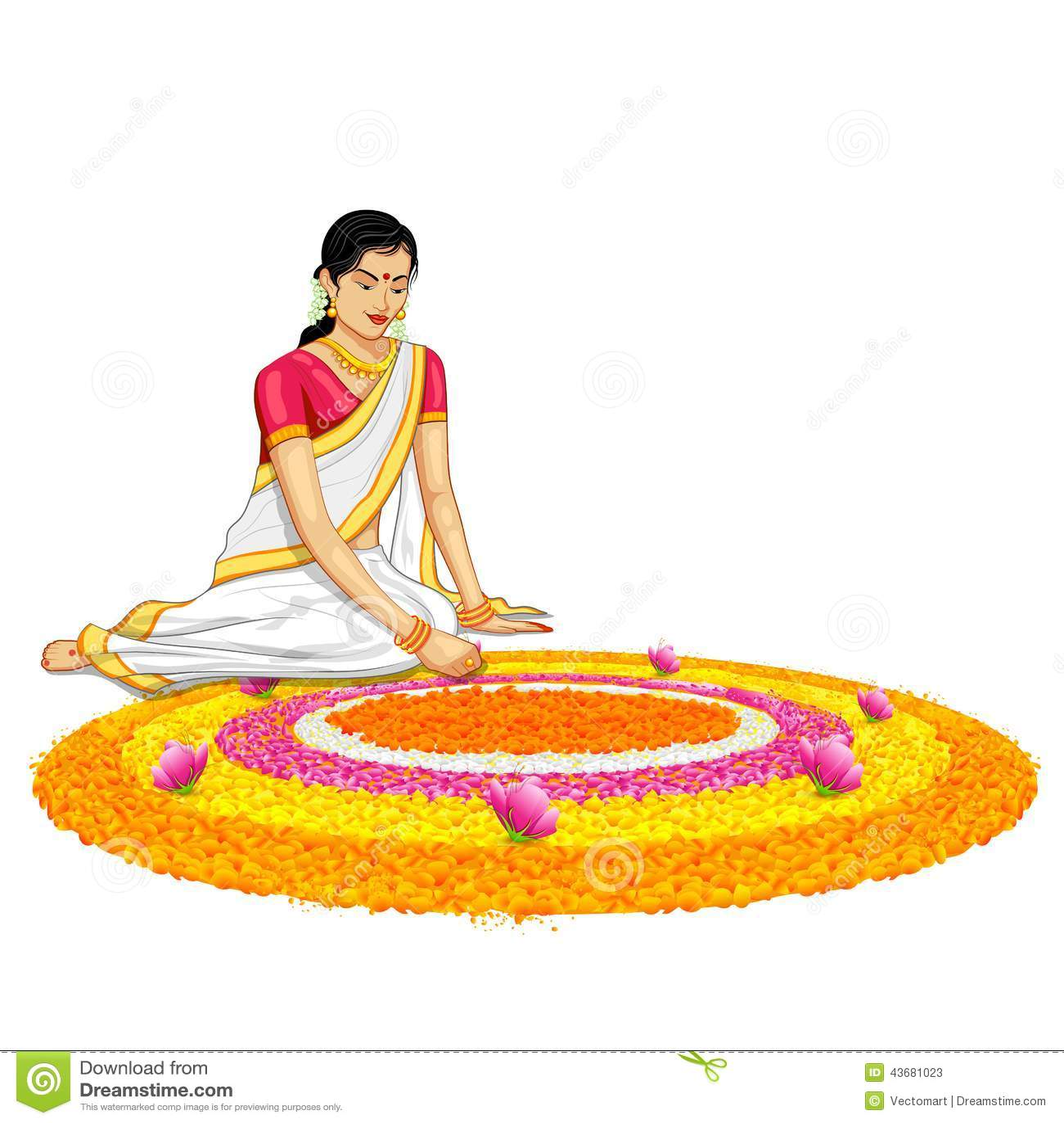 Woman Making Rangoli For Onam Stock Vector Image 43681023