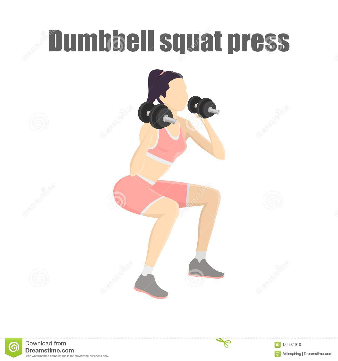 Woman Making Squats With Dumbbell Stock Vector - Illustration of