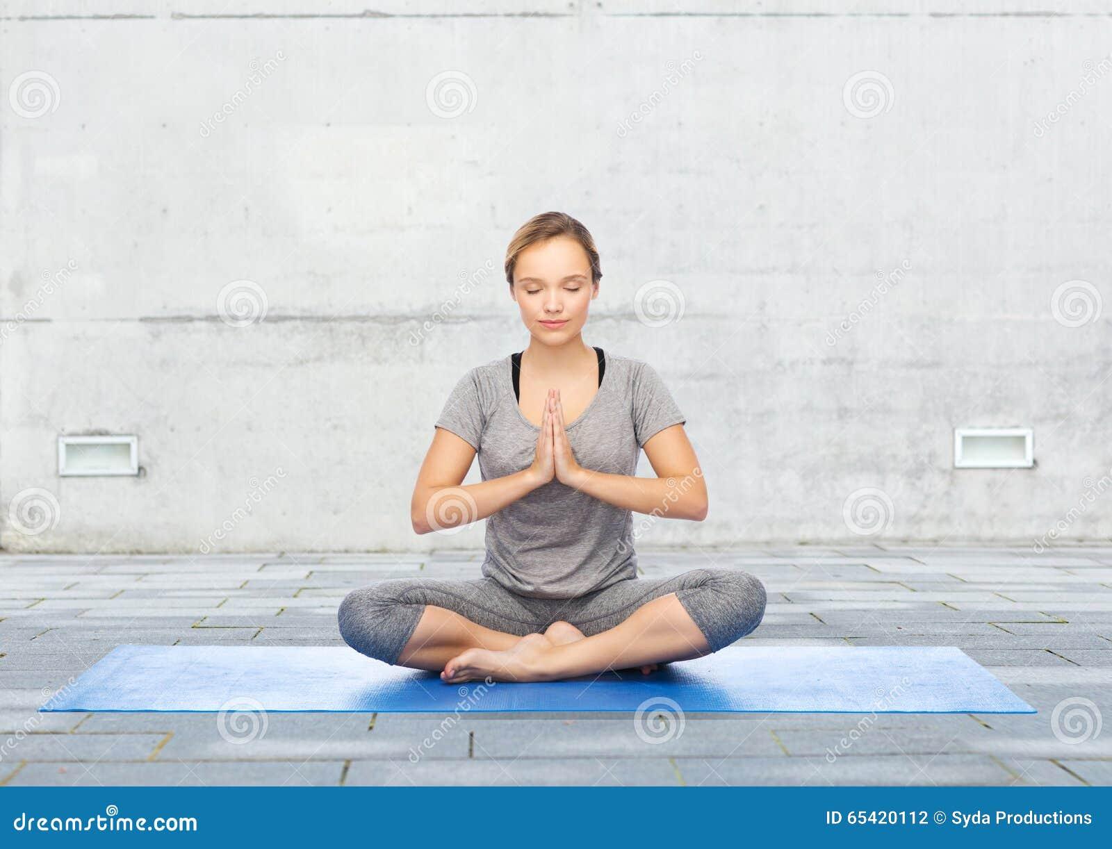 Yoga Meditating Lotus Position Exercising Woman