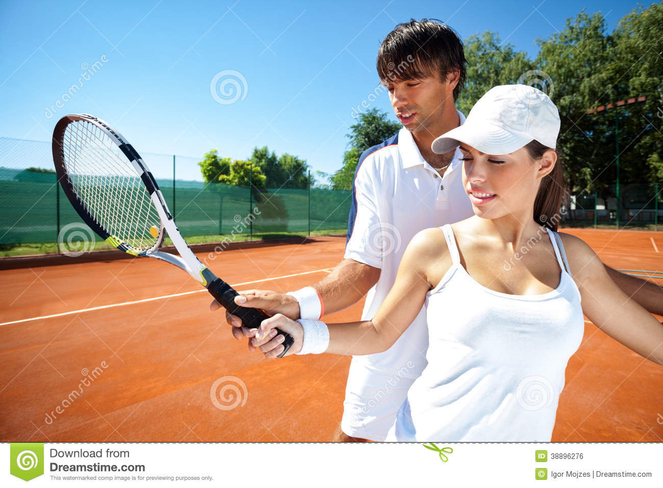 Tennis Teacher Giving Lesson Stock Photo | Getty Images