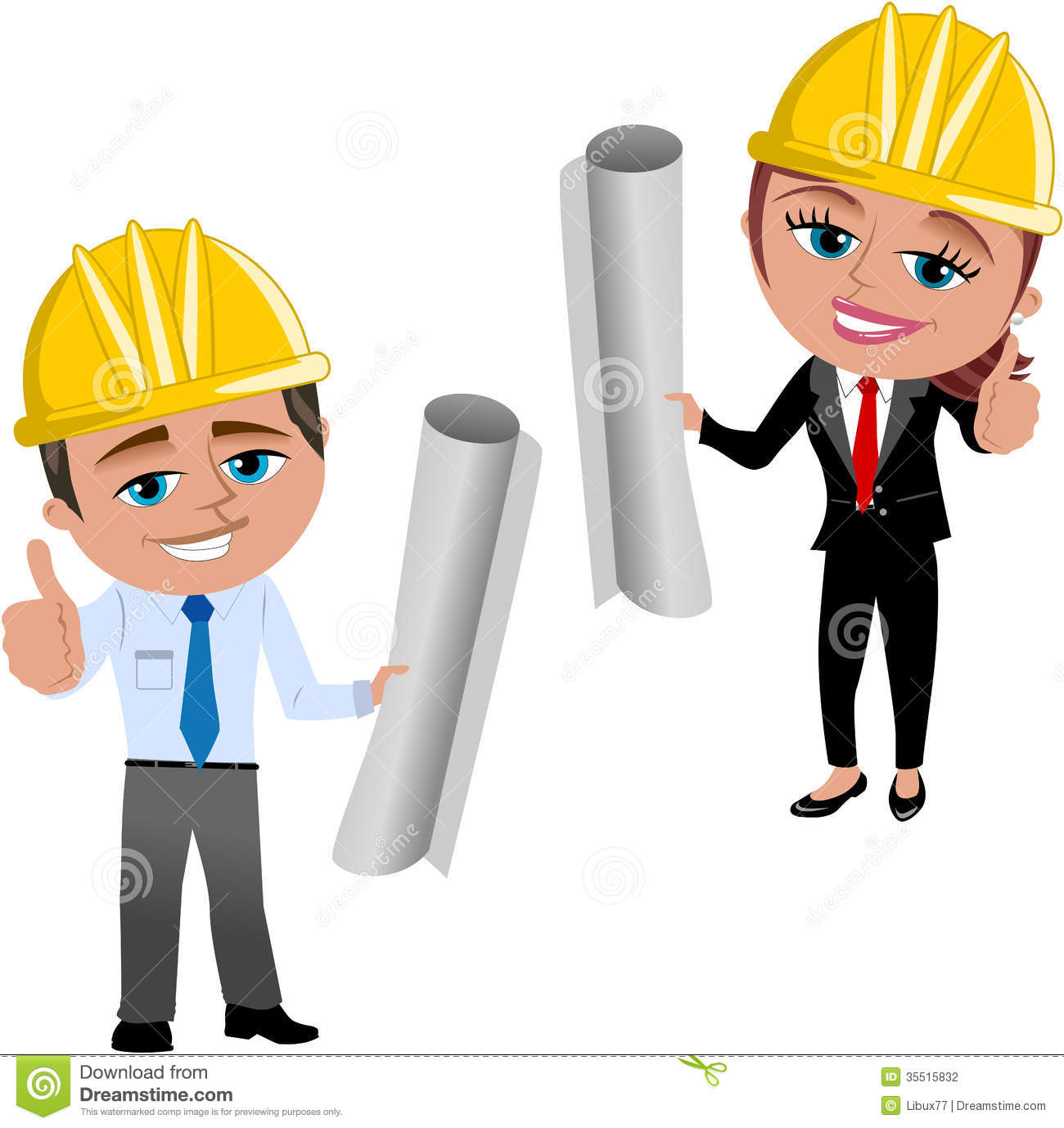 Woman And Man Architect Or Engineer With Thumb Up Isolated