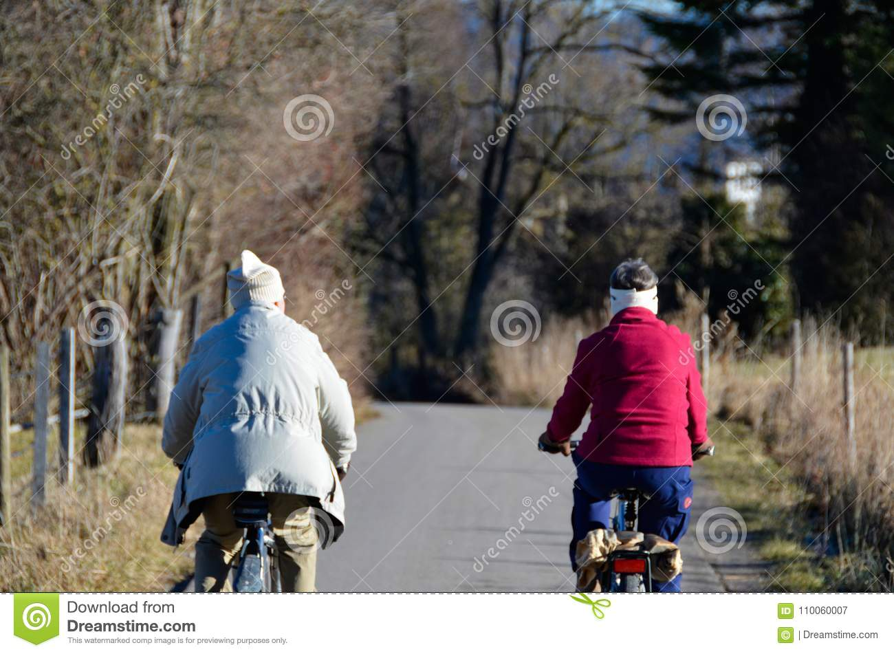 Couple bicycle tour in landscape