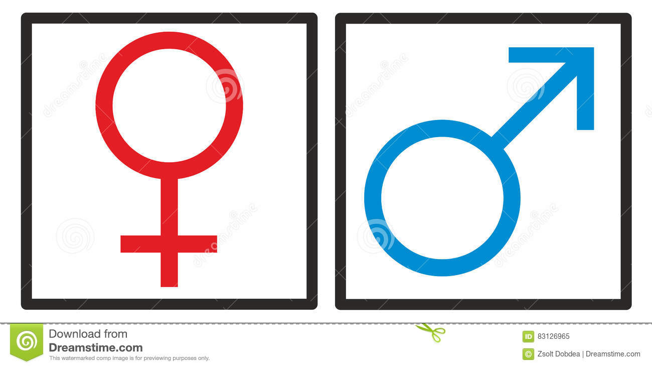 Male Female Sign With Girl And Boy Cartoon Vector