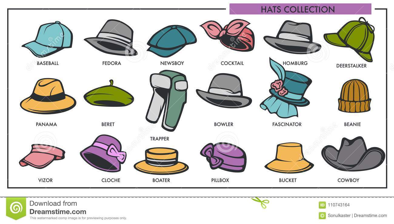 c95be1f8939ff Woman and man hats models collection of retro and modern fashion type. Vector  female and male headware icons of baseball vizor cap