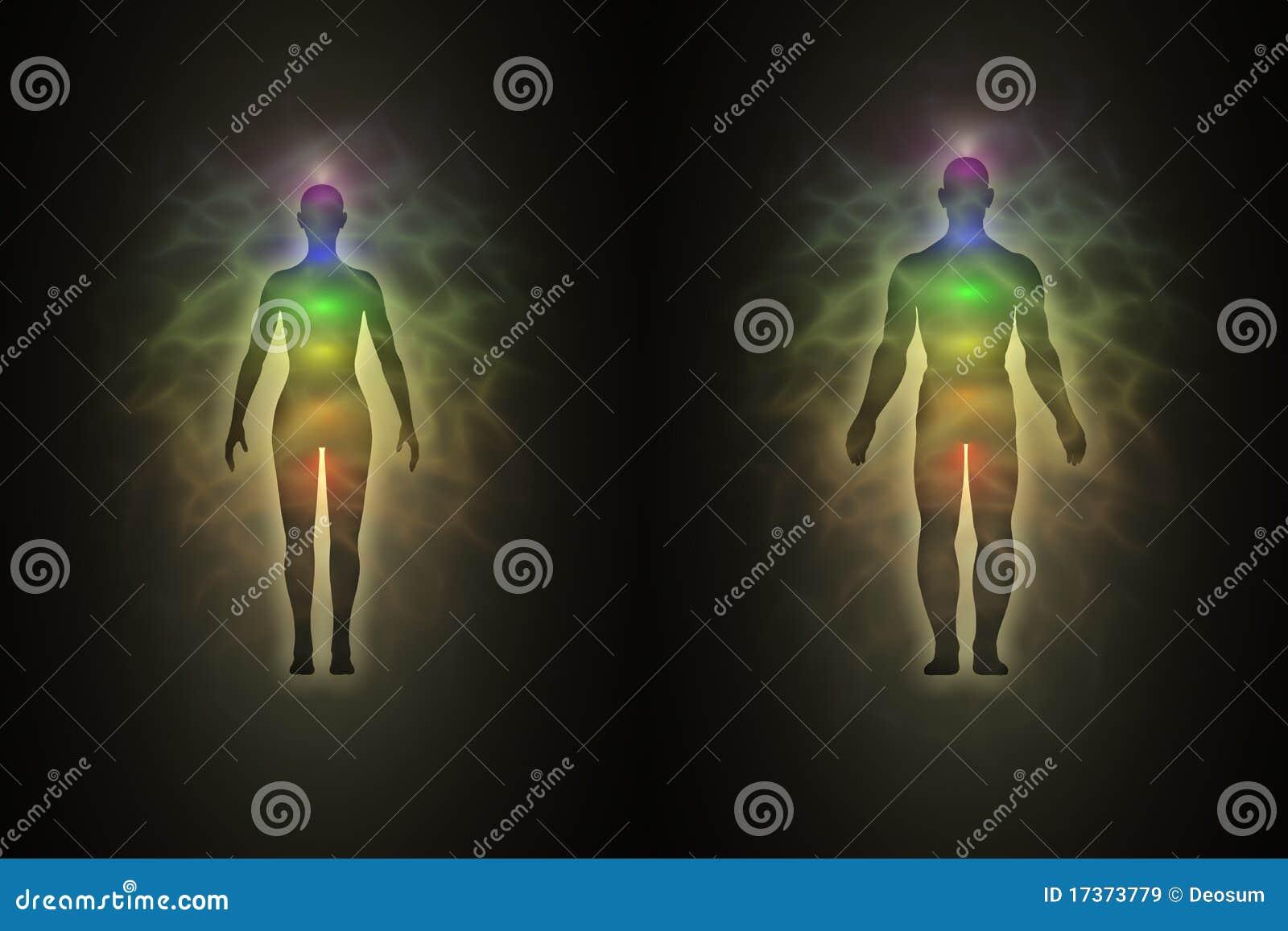 Woman Man Silhouette Aura Chakras Energy on Illustration Of Body And Spirit Soul