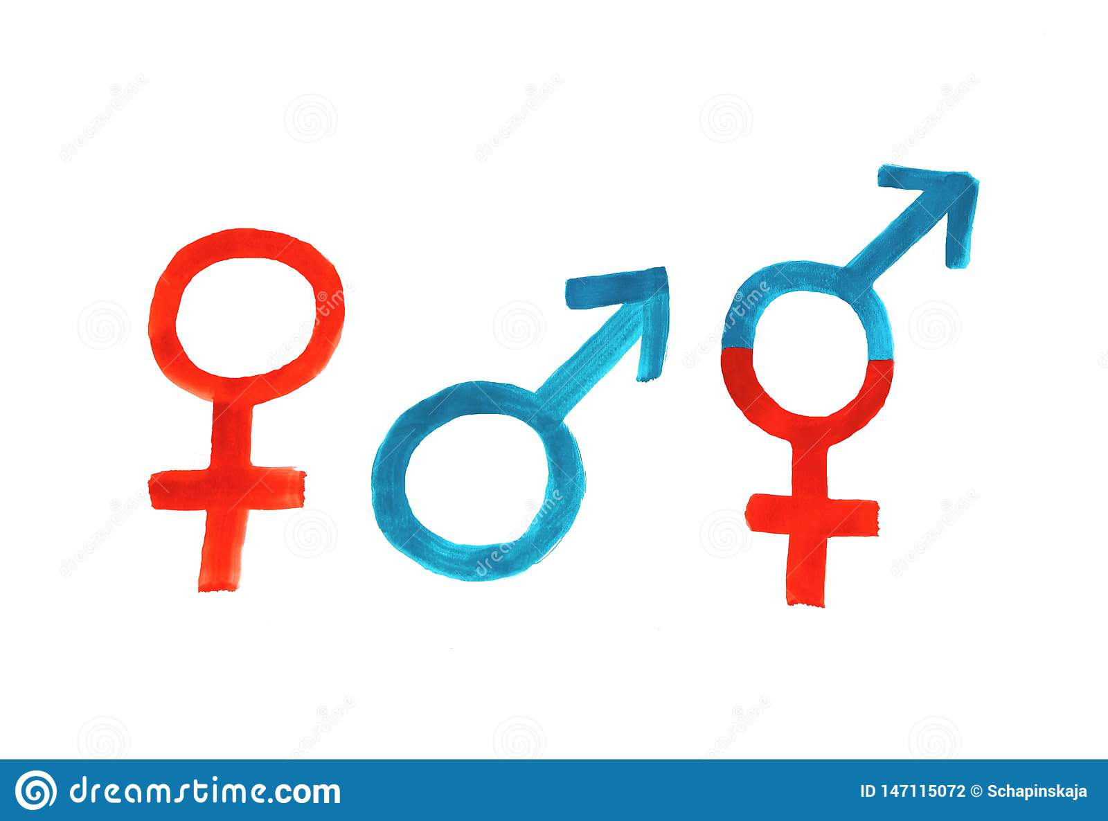 Woman-man-third gender, painting with the three symbols