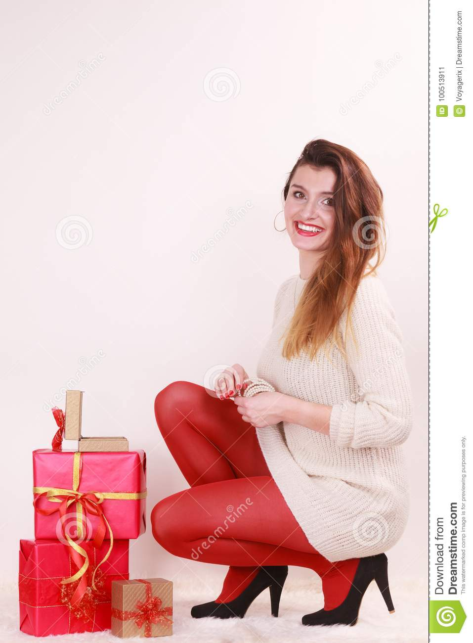 Woman With Many Christmas Gift Boxes Stock Image - Image of ...
