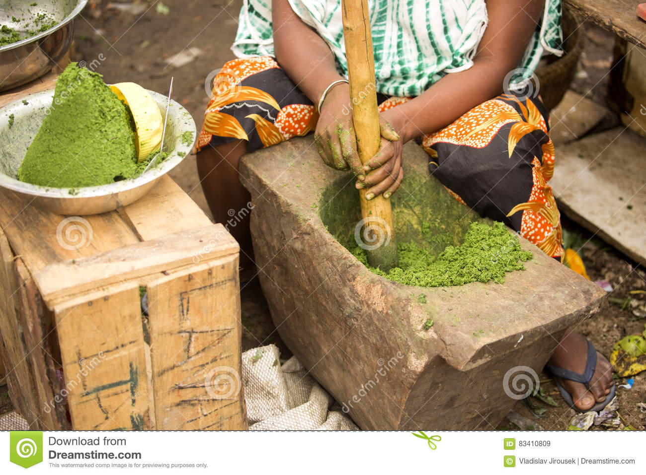 Download Woman At The Market To Crush Them In The Primitive Tools Of Spices, Nosi Be, Madagascar Stock Image - Image of traditional, natural: 83410809