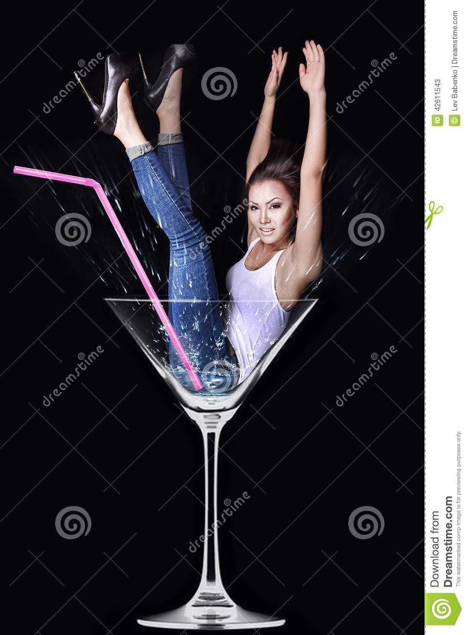 Woman In Martini Glass Stock Image Image Of Female Adult