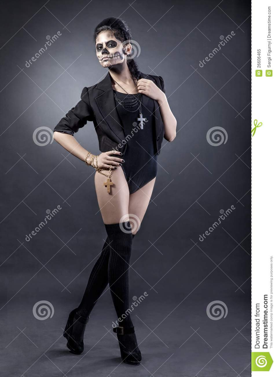 Woman With Mask Skull. Halloween Face Art Royalty Free Stock Photo ...