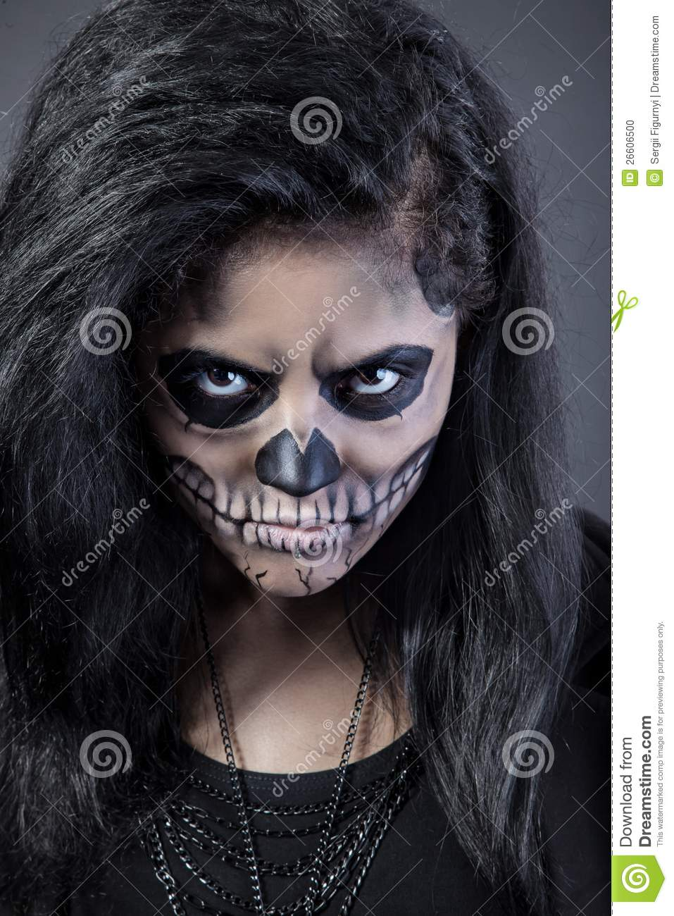 Woman With Mask Skull. Halloween Face Art Stock Photo - Image ...