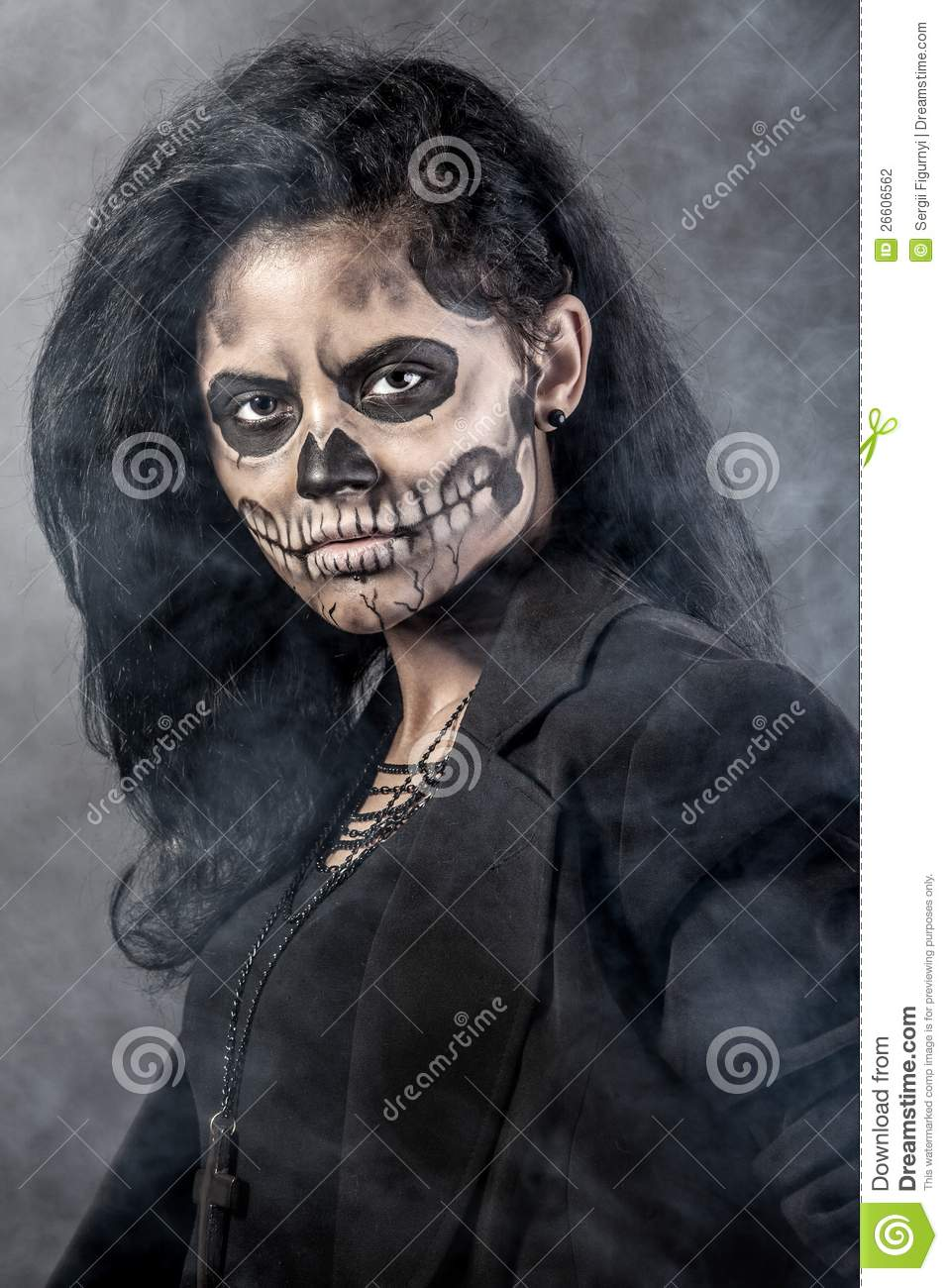 Woman With Mask Skull. Halloween Face Art Stock Photography ...