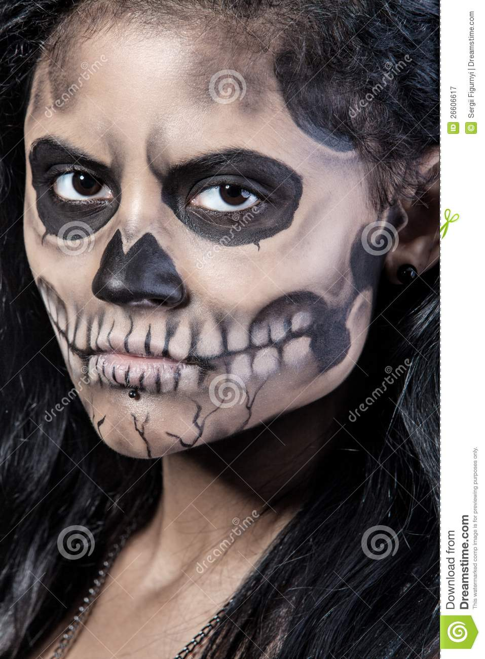 Woman With Mask Skull. Halloween Face Art Royalty Free Stock ...