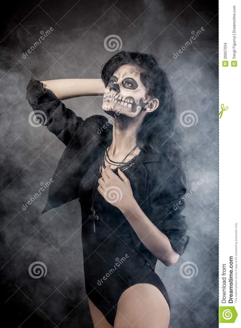 Woman With Mask Skull. Halloween Face Art Stock Images - Image ...