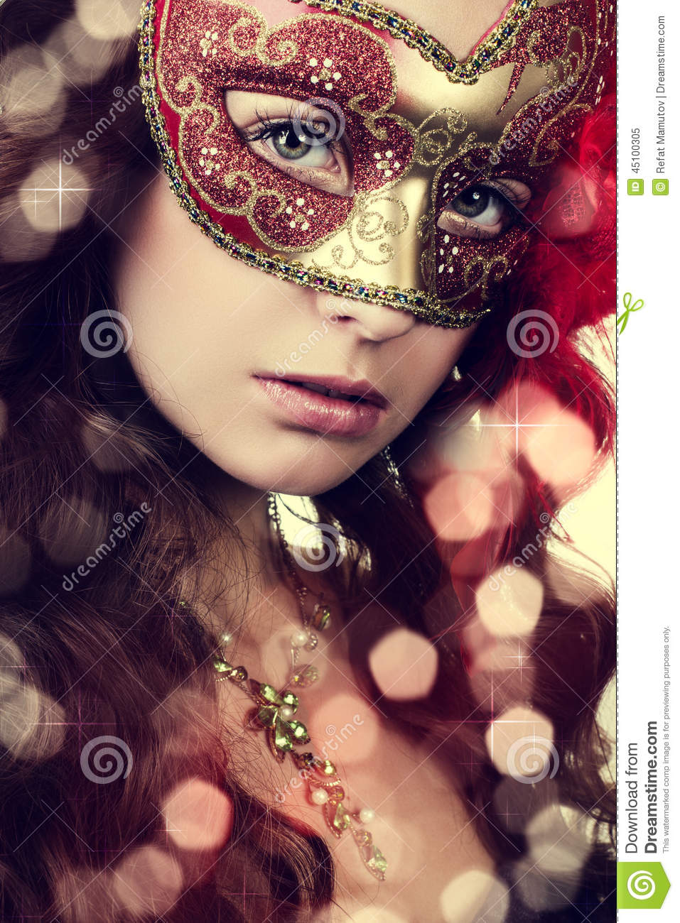 Woman in masquerade mask stock image. Image of beautiful ...