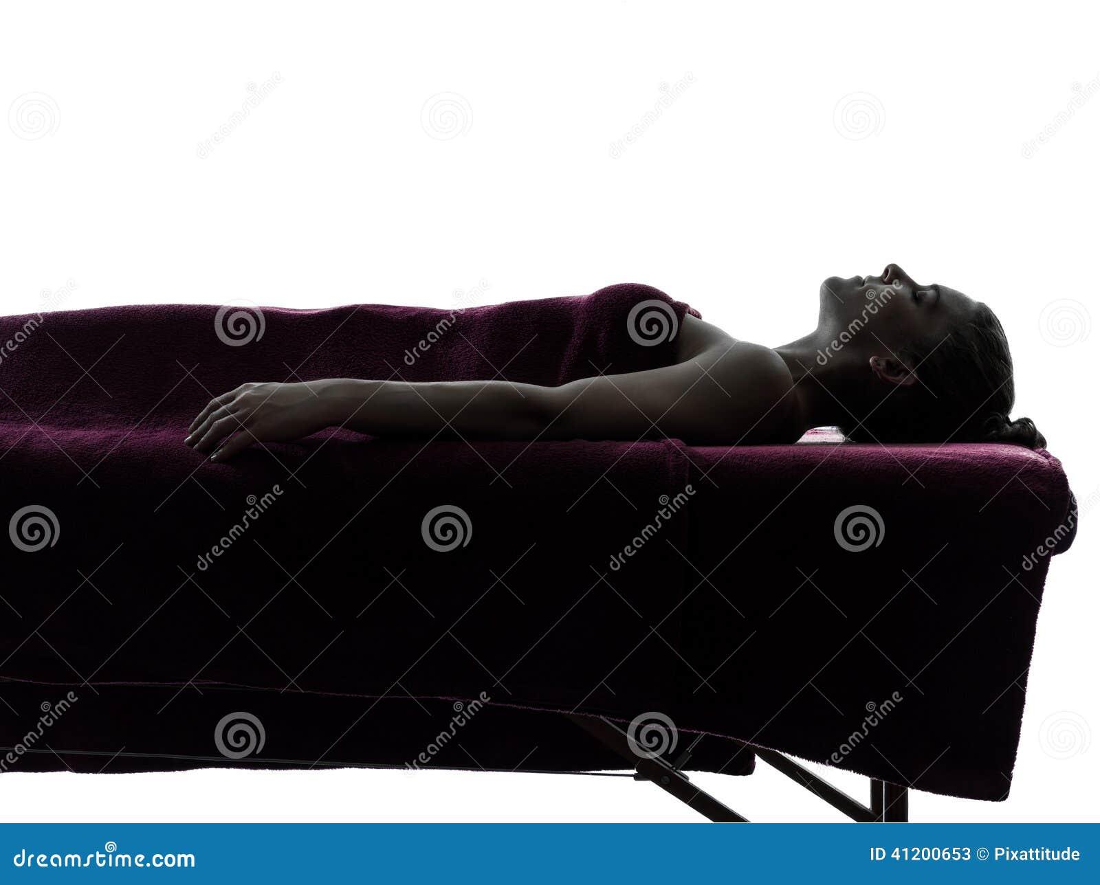 Woman Massage Therapy Silhouette Stock Photo