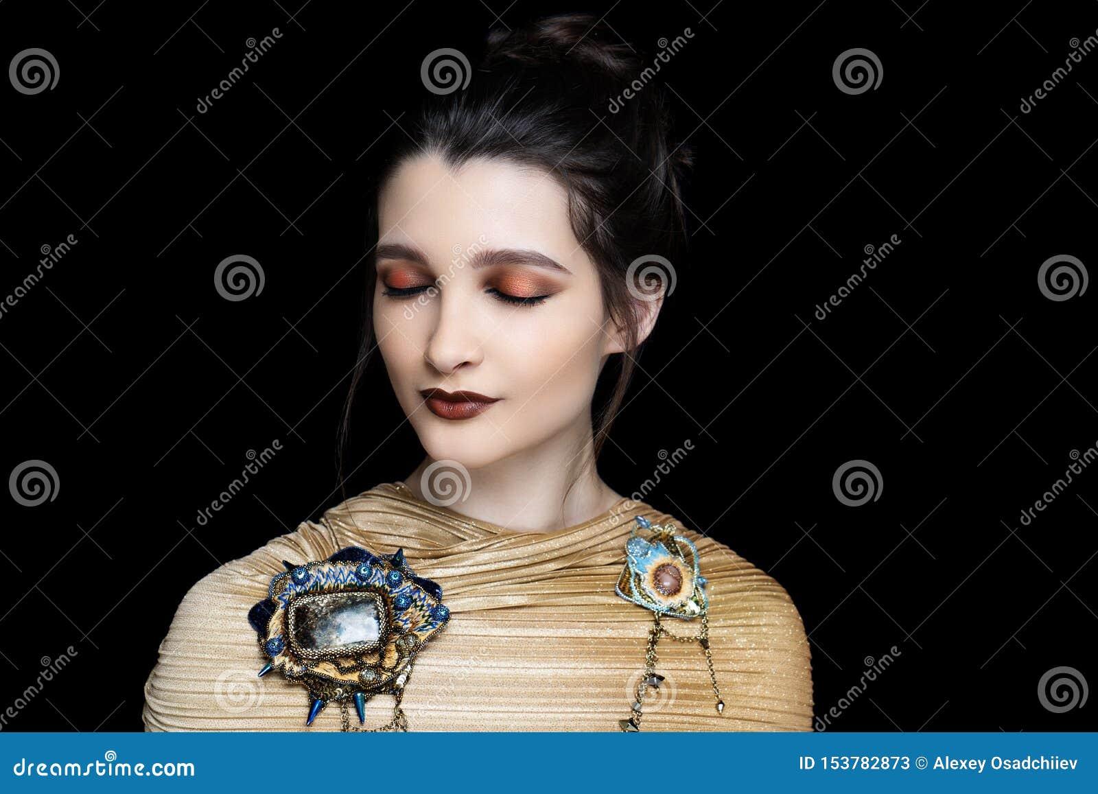 Woman matte brown lipstick