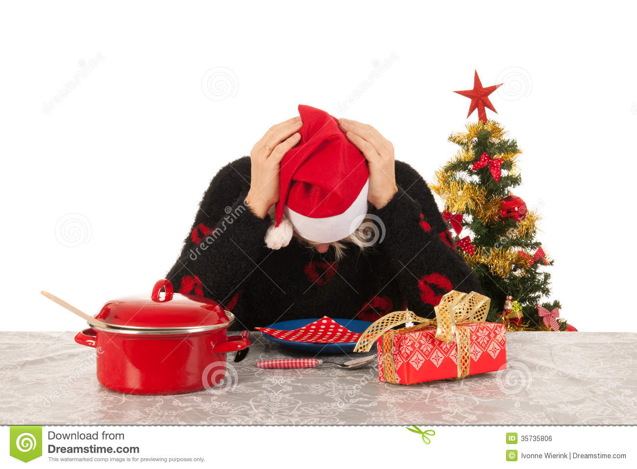 Alone For Christmas.Woman Of Mature Age Alone With Christmas Stock Photo Image