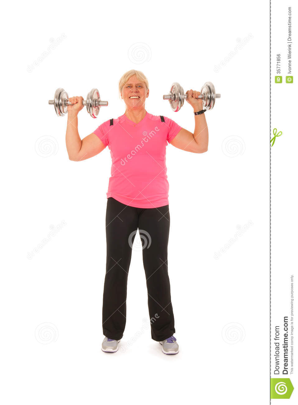 Woman Of Mature Age Lifting Dumbbels Stock Photo Image Of Heavy