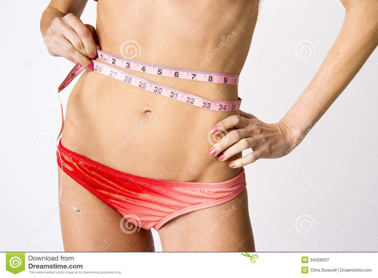 Woman Measures Her Waist Female Torso Body Measurements ...