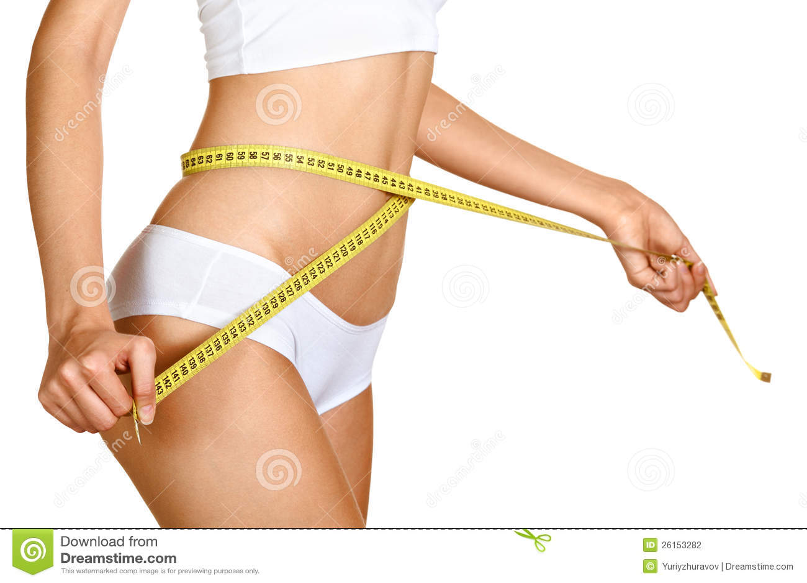 Woman measuring her waistline. Perfect Slim Body
