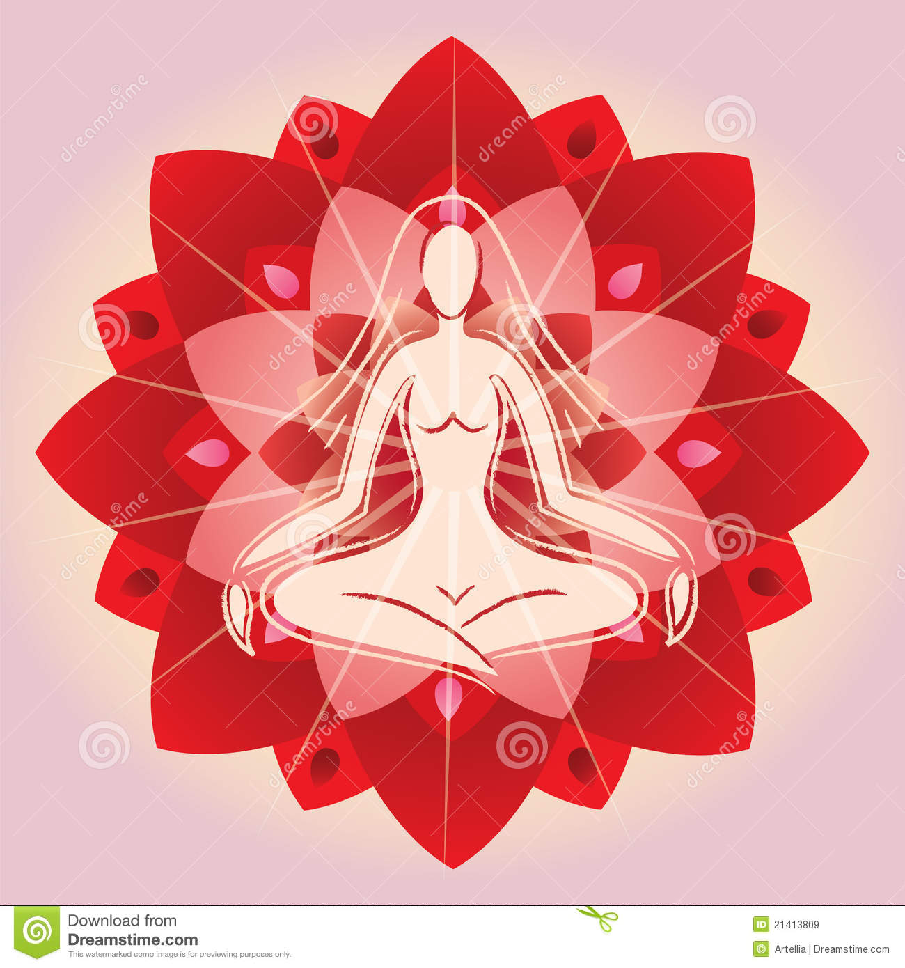 Woman Meditating On Lotus Flower Background Stock Vector ...