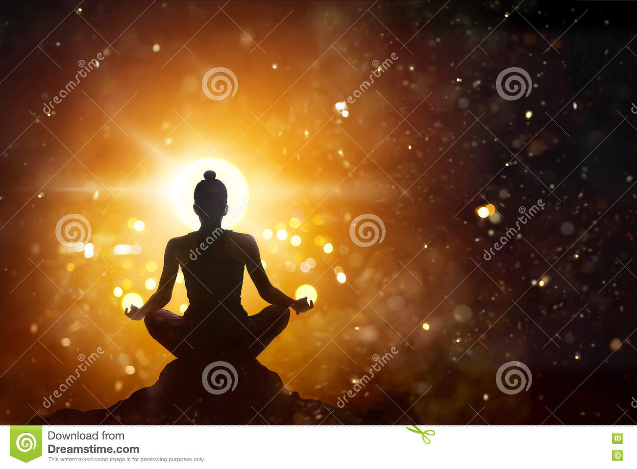 Woman meditating in lotus pose yoga with abstract background