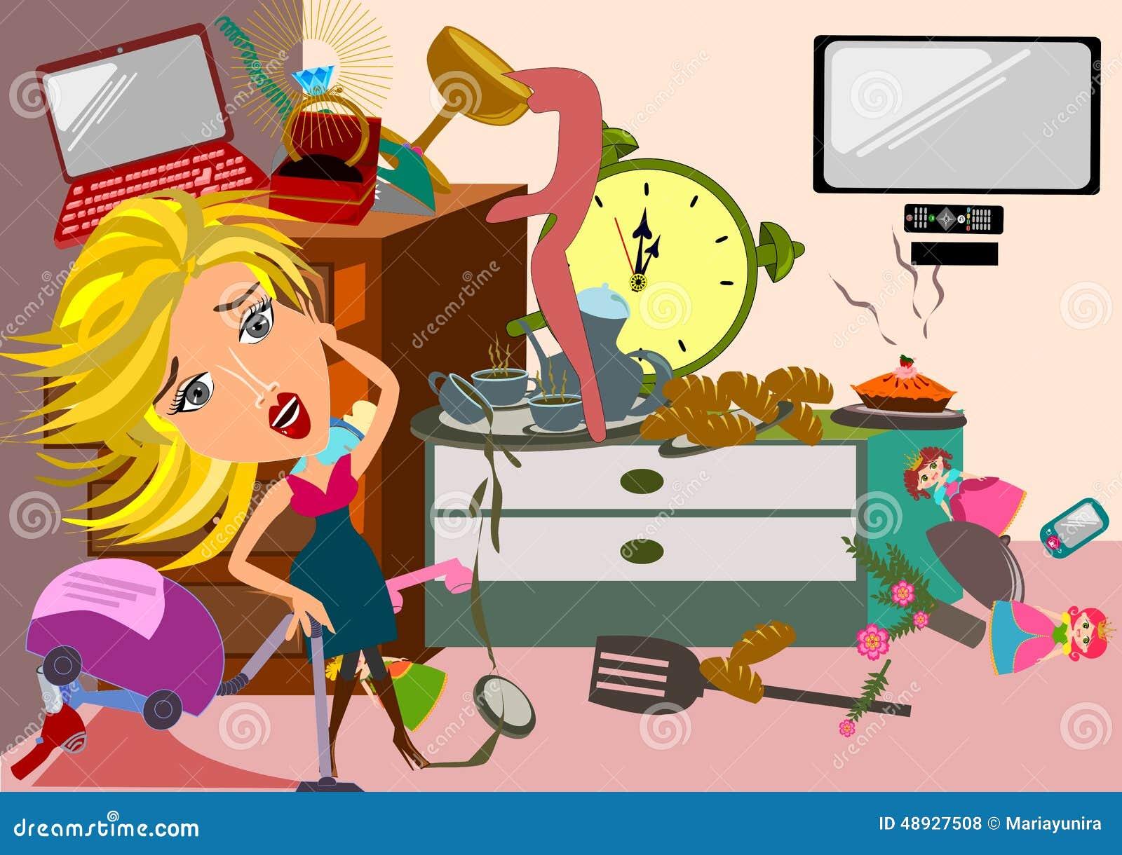Woman in a messy room stock illustration image 48927508 for Cuarto desordenado