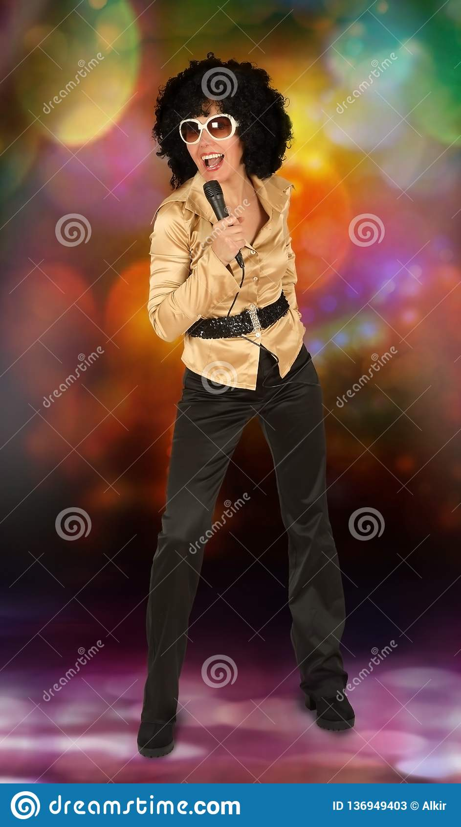 Disco Woman With The Microphone Stock Image - Image of